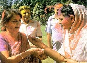 The Rajmata celebrating the Hindu festival of Holi.