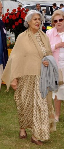 The Rajmata of Jaipur at the Veuve Clicquot sponsored Gold Cup for the British Open Polo Championship  at Cowdray Park, West Sussex on 21st July 2002. The photograph above is copyright of Desmond O' Neill to whom all rights are reserved.