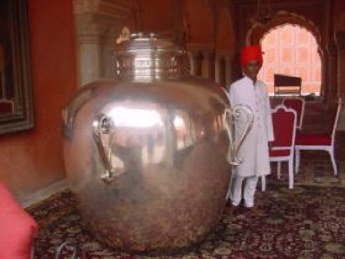 One of the silver urns used by Maharaja Sawai Madho Singh to carry water from the Ganges to England