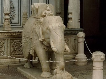 One of the Marble elephants from the Rajendra Pol. Each elephant has been carved out a single piece of marble.