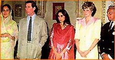 The Jaipur Royal family with the Prince and Princess of Wales.  (left to right) Her Higness Maharani Shri Padminin Devi Sahiba, His Royal Higness Princes Charles, Maharaj Kumari Diya Baiji Lal Sahiba, Her Royal Highness Princess Diana, and His Highness Maharaja Sawai Bhawani Singh.