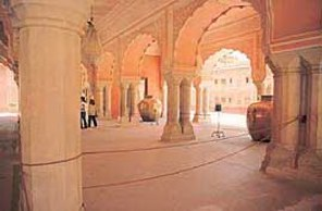 The interiors of the Diwan-i-Khas. The two silver urns can be seen towards the back .
