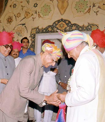 People congratulating the Maharaja Brigadier Sawai Bhawani Singh on his birthday at City Palace, Jaipur.