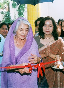 Royal Resonance: Rajmata Gayatri Devi inaugurates the new manufacturing unit of Kaya Kalp herbal products at Jaipur. Beautician Kulsum Malik (right), the owner of Kaya Kalp chain of beauty parlour escorts the royal lady on March 25, 2002